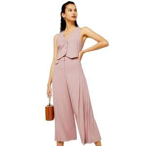 Topshop Size 12 Blush Pleated Wide Leg Crop Pants